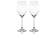 Sada svatebních pohárů Granada + Swarowski krystaly - 2 x 360 ml